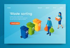 Landing Banner Waste Sorting Responsible Society. People Throw Out Garbage and Sort it into Three Types Plastic Organic and Paper. Reduces Amount Pollution on vector illustration