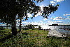 Landing and bathing place on the island Oehn on the Swedish lake Stroems Vattudal Stock Image