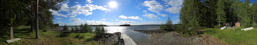 Landing and bathing place panorama on the island Oehn on the Swedish lake Stroems Vattudal Stock Image