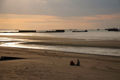 The landing beaches at Arromanches, France. Royalty Free Stock Photos