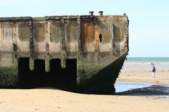 The landing beaches at Arromanches, France. Stock Photography