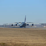 Landing of the big airliner. Stock Image
