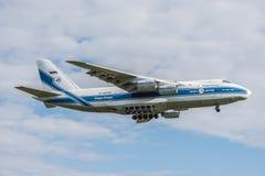 Landing of big cargo airliner. Stock Photos