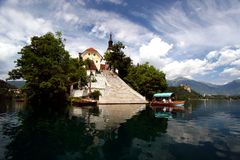 Landing at the Bled Island Royalty Free Stock Photos