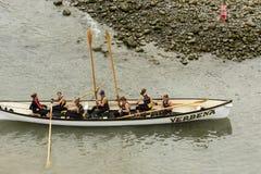 Landing the boat,  Clovelly, Devon Royalty Free Stock Photo