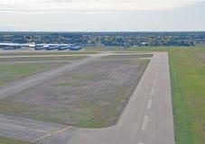 Landing in Brantford Ontario. Runway at the municipal Airport in Brantford Ontario, Canada Stock Images