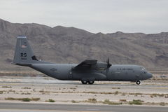 Landing C-130. A C-130 landing at the Nellis AFB airshow Stock Photos