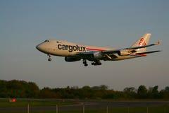 Landing Cargolux 747 Stock Photo