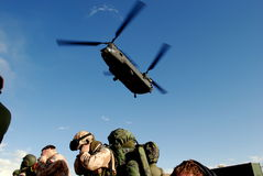 Landing Chinook. US Army Chinook landing in Logar Province, Afghanistan Stock Image