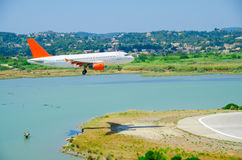 Landing at Corfu Airport. Airplane almost at touch down, at Kerkyra airport Stock Photo