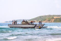 Landing Craft Mechanized or LCM of South Korea carries light tan. CHONBURI, THAILAND - FEBRUARY 17, 2018:  Landing Craft Mechanized or LCM of South Korea carries Stock Images