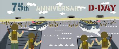 Landing craft with soldiers on landing beaches in normandy France stock illustration