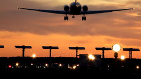 Landing at dusk stock footage