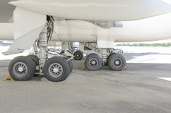 Landing gear. The landing gear of an airplane Royalty Free Stock Image