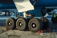Landing gear of airplane under maintenance Stock Image