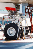 A380 landing gear. Close-up shot of front landing gear of an Airbus A380 Royalty Free Stock Photo