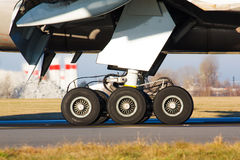 Landing gear. With wheels of huge airplane Royalty Free Stock Images