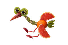 Landing heron made of fruits Royalty Free Stock Photography