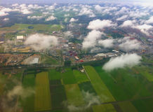 Landing at the international airport of Amsterdam. Stock Photo
