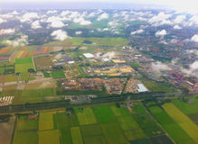 Landing at the international airport of Amsterdam. Royalty Free Stock Images