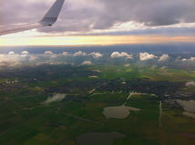 Landing at the international airport of Amsterdam. Stock Image