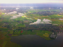 Landing at the international airport of Amsterdam. Stock Photography