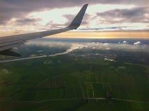 Landing at the international airport of Amsterdam. Stock Photos