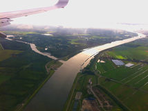 Landing at the international airport of Amsterdam. Royalty Free Stock Image