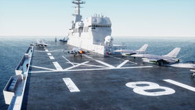 Landing jet on aircraft carrier in ocean. Military and war concept. Realistic 4k animation.