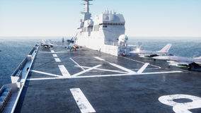 Landing jet f16 on aircraft carrier in ocean. Military and war concept. 3d rendering. Royalty Free Stock Images
