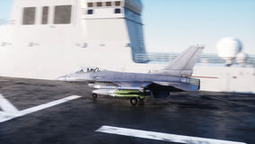 Landing jet f16 on aircraft carrier in ocean. Military and war concept. 3d rendering. Royalty Free Stock Photos