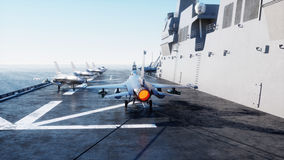 Landing jet f16 on aircraft carrier in ocean. Military and war concept. 3d rendering. Royalty Free Stock Photo