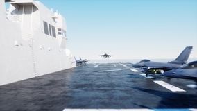 Landing jet f16 on aircraft carrier in ocean. Military and war concept. 3d rendering. Stock Photography