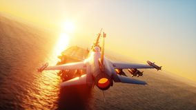 Landing jet f16 on aircraft carrier in ocean. Military and war concept. 3d rendering. Royalty Free Stock Photography