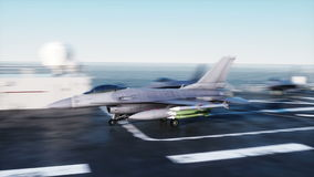 Landing jet f16 on aircraft carrier in ocean. Military and war concept. Realistic 4k animation.