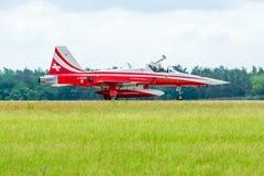 Landing of jet Northrop F-5E Tiger II. Royalty Free Stock Photo
