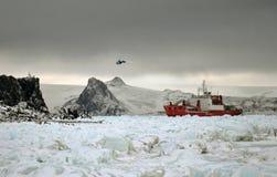 Landing K-32 on the Antarctic Peninsula stock image