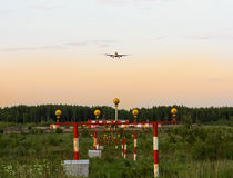 Landing lights and the airplane Royalty Free Stock Images
