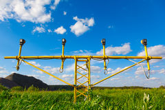 Landing lights and green grass Stock Image