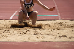 Landing in long jump Stock Images