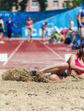 Landing in long jump. In track and field royalty free stock photos
