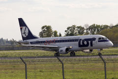 Landing LOT Polish Airlines Embraer ERJ175 aircraft Stock Photo