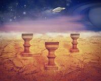 Landing on Mars sureal artwork Royalty Free Stock Photo