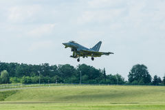 Landing multirole fighter Eurofighter Typhoon. Royalty Free Stock Photos