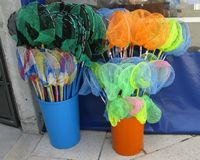Landing nets in plastic buckets Royalty Free Stock Photography