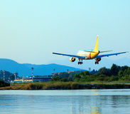 Landing Of Airplane, Corfu Royalty Free Stock Image
