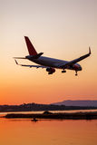 Landing Of Airplane, Corfu Stock Photo