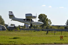 Landing of the Orion SK-12 amphibian. Royalty Free Stock Images