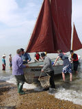 Landing the Oysters for the Oyster Festival, Whitstable UK Royalty Free Stock Photography