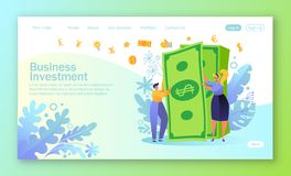 Concept of landing page on finance theme. People characters with big money stack. Rich man and woman. Employees received a salary. royalty free illustration